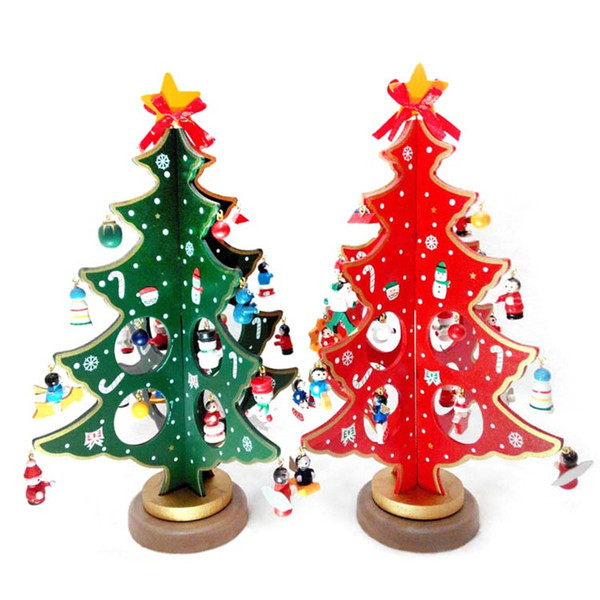 Wooden Christmas Tree Craft Red Green DIY Christmas Ornaments for Xmas Tree Tree Table Desk Decoration Children Christmas Gift