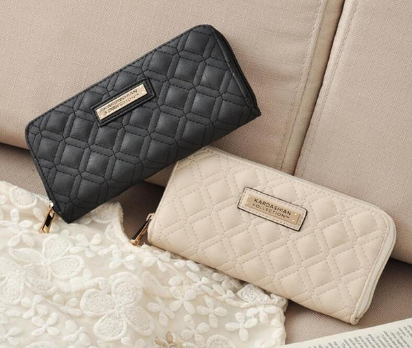 Custom Logo Fashion Wallet Long Design Women PU Leather Kardashian Kollection High Grade Clutch Bag Zipper Coin Purse Handbag girl gift
