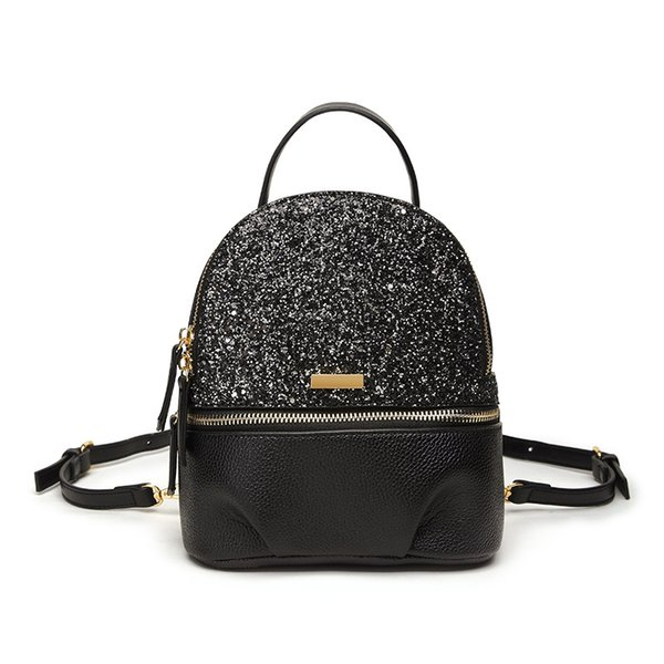 Stylish Personality Women Sequin Backpack Black Dragonfly Teenage Girls Lady Travel Rucksack PU Leather Bling Mini Bagpack