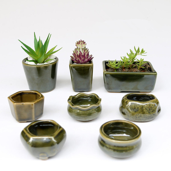 8 pc / Set Simple Forme Pot De Fleur Pour Les Plantes Succulentes Plantes Charnues Pot De Fleurs En Céramique Petit Mini Maison / Jardin / Bureau Décoration