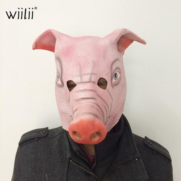 WIILII Halloween Horror Mask Full Face Cosplay Pig Head Scary Masquerade Terror High quality Party Helloween Accessories