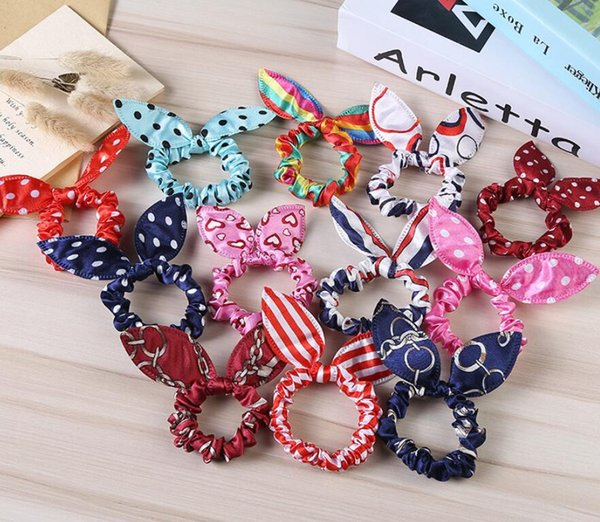 top popular Children women Hair Band Cute Polka Dot Bow Rabbit Ears Headband Girl Ring Scrunchy Kids Ponytail Holder Hair Accessories 2019