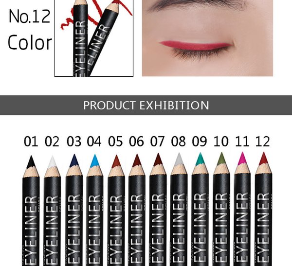 Menow matte eyeliner pencil rose red blue white eyeliner waterproof long lasting shimmer eyeliner pen wood eye liner MN048