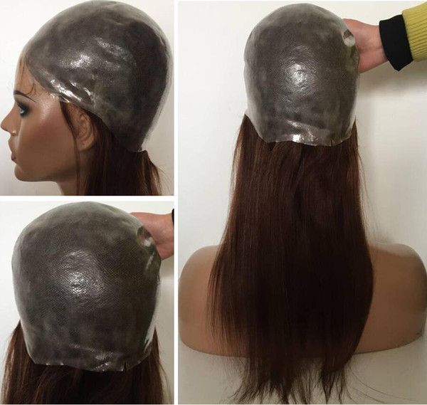 Full Thin Skin Wig color#4 virgin brazilian hair pu wig silky straight full silicone wig with baby hair perimeter free shipping