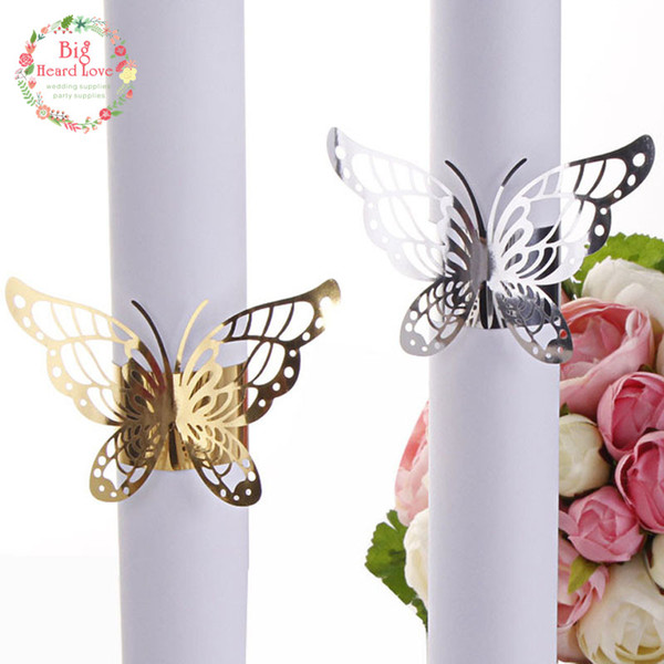 Big Heard Love 40pcs Wedding Napkin Holders Butterfly Napkin Rings for Wedding Decoration Supplies Paper Ring Table Decoration