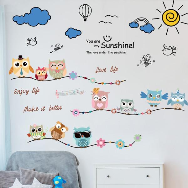 Großhandel SHIJUEHEZI Nacht Eulen Tiere Wandaufkleber Vinyl DIY Wolken  Vögel Wandtattoos Für Kinderzimmer Kindergarten Dekoration Von Cansou,  $25.63 ...