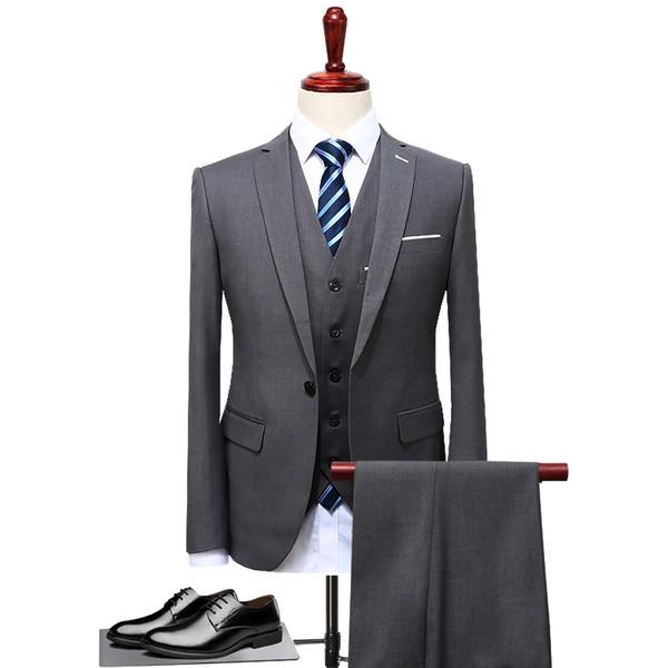 Gri Iş Takım Elbise Damat Smokin Slim Fit Erkekler Düğün Suit için 3 Adet (Ceket + Yelek + Pantolon) Blazer Erkekler