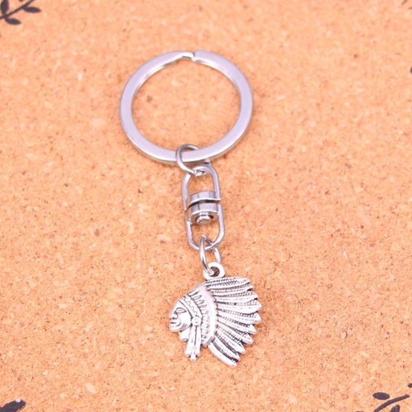 Nuovo design capo indiano capo portachiavi auto portachiavi a catena ciondolo in argento per uomo donna regalo