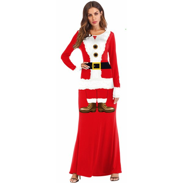 2018 Fashion Casual Long Christmas Dress Women Winter Long Sleeve O-neck Santa Claus Party Maxi Dress Red Cosplay Plus Size