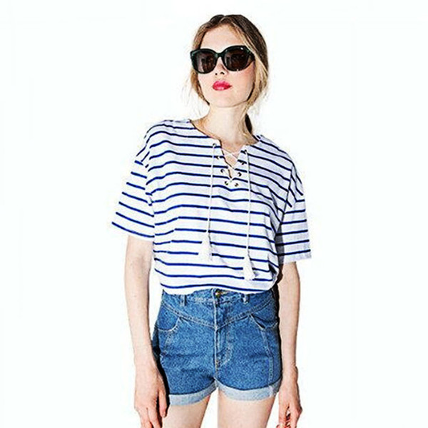 Womens V Neck Short Sleeve T Shirts Ladies Crop Casual Tee Shirts Loose Stripe T Shirt Hip Hop Tops K Pop Woman Clothing 60D0038