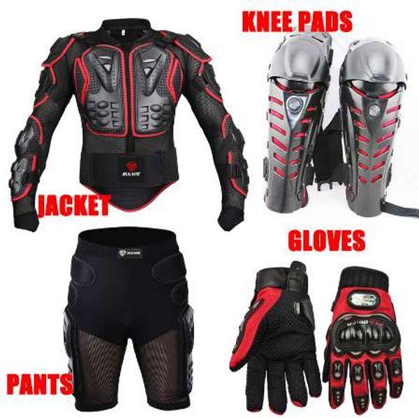 4PCS Motorcycle jackets Racing Motorcross Body Armor Protective Jacket+ Gears Short Pants+Motorcycle Knee Protector+Moto gloves
