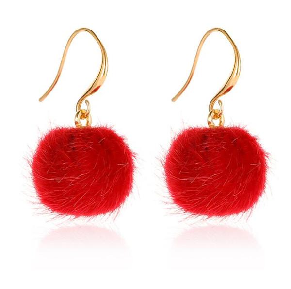 Femmes Mode Doux Fourrure Balle Pompon Long Boucles D/'Oreilles Clous Goutte//Dangle Bijoux