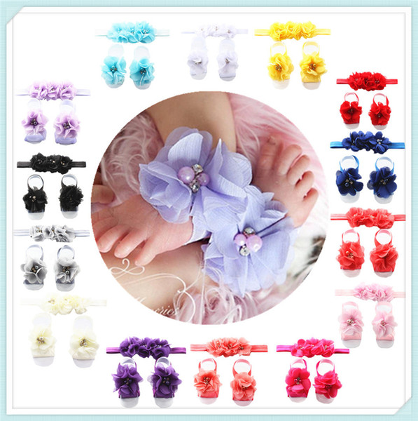 top popular Fashion Europe and America baby wrist flower Headband baby hand-sewn chiffon diamond Hair Clips head flower Hair Accessories with a flower s 2019