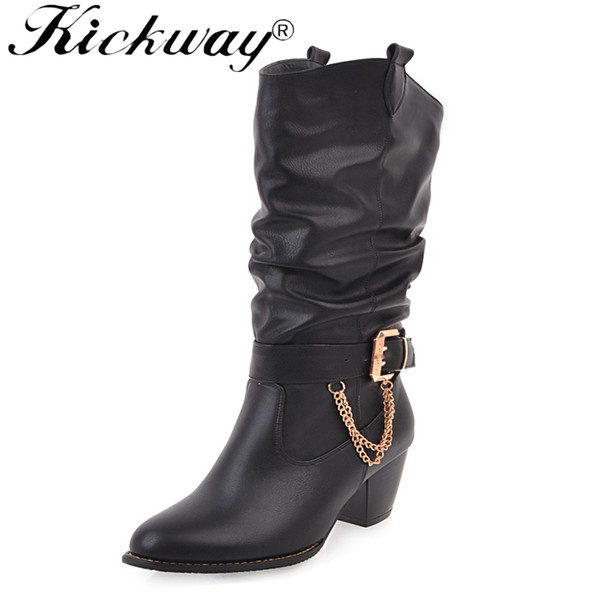 Kickway Shoes Woman Winter Boots Cowboy Western Boots Plus Size 33-47 Mid-calf for Women Short Black Ladies Botas