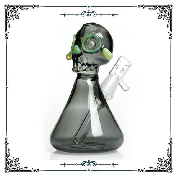 America color rod glass Skull oil rig bong insert 3-hole perc glass smoking water pipes green mini beaker bong heady glass hookah oil rigs