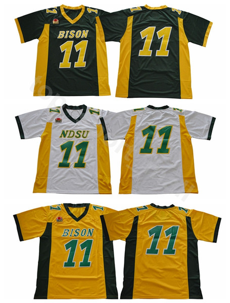 ndsu bison 11 carson wentz football jerseys north dakota state college wentz jersey stitched university team green yellow white, Black