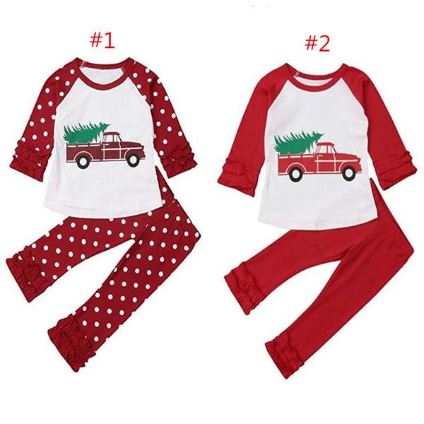 Weihnachten Outfit Herbst Boutique Kinder Kleidung Set Weihnachtsbaum Auto gedruckt Flare Sleeve Tshirt + Bell-Bottom Hose Hosen Homewear Sweatsuit