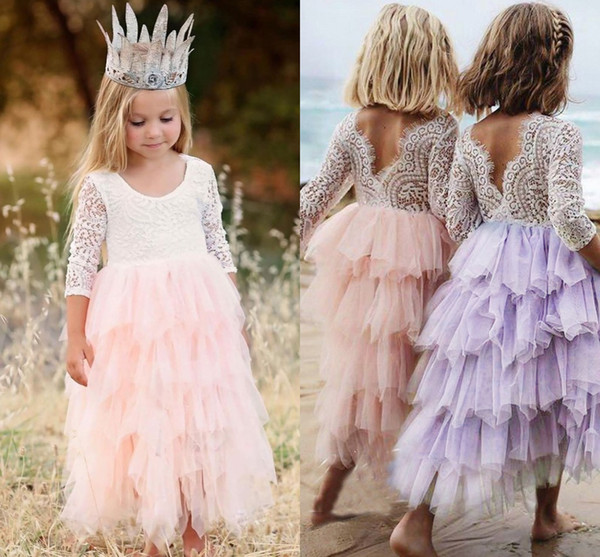Summer Lovely Baby Flower Girl Dress Princess Pageant Lace Tulle Little Girls Special Occasion Dresses MC1680