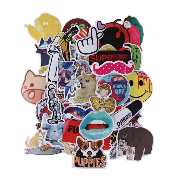 50PCS/set Waterproof Stickers Funny Doodle Sticker Luggage Suitcase Bike Laptop Skateboa DIY Poster Stickers E5M1