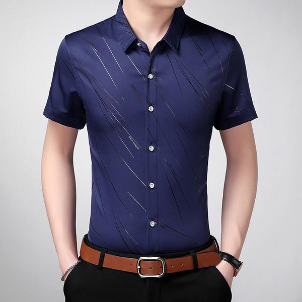 2018 New Arrival Brand Men's Summer Business Shirt Short Sleeves Turn-down Collar Tuxedo Shirt Men Shirts Big Size 7XL