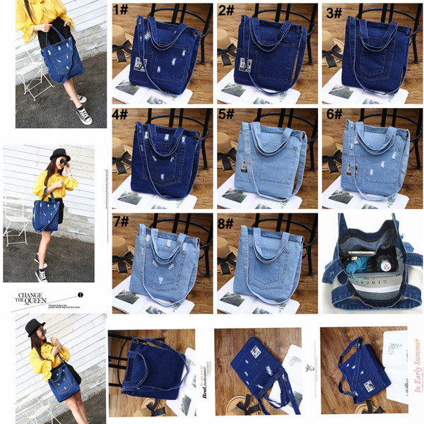 top popular Women Denim Shoulder Bag Solid Color Zipped Handbag Ladies Girls Casual Vintage Jeans Storage Crossbody Shopping Tote AAA1423 2019