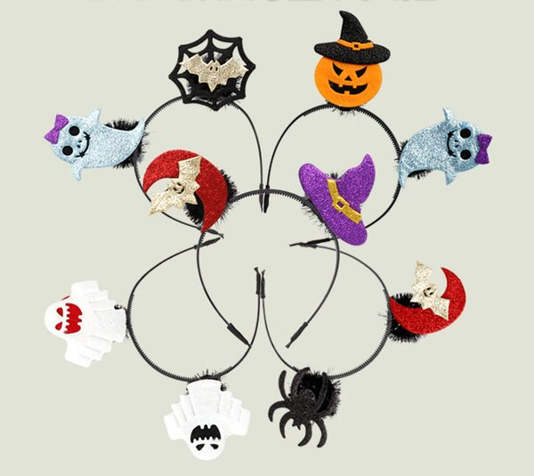 5 Styles Halloween headband children's masquerade party performance supplies pumpkin witch ghost bat Girl headband ornament