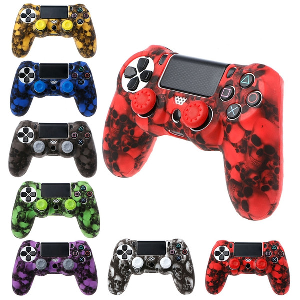 best selling For Playstation PS4 Pro PS4 Slim Gamepad Protect Camouflage Camo Silicone Gel Guards Soft sleeve Skin Grip Cover Case+2 Caps
