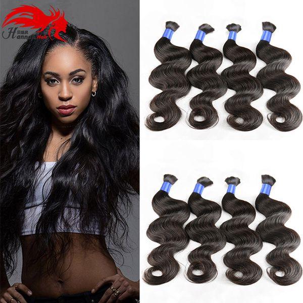 best selling Wholesale Natural Black Brazilian Hair Bulk Body Wave No Attachment Micro mini Braiding Bulk Hair