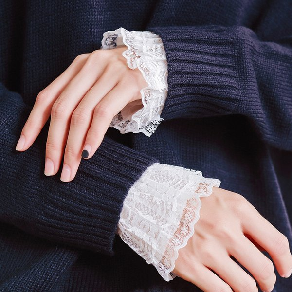 Women's Sunscreen Lace Gloves Fashion Joker Accessories Solid Black Handmade False temperament lace organ floral palace wind