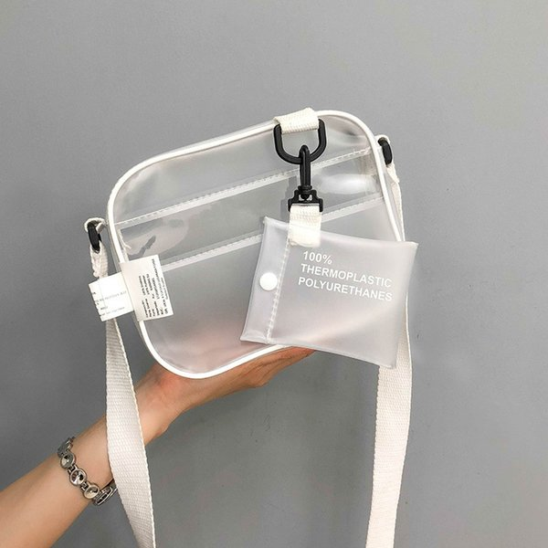 2018 Korean Student Chest Bag Female Mens Document Bag high quality pvc Jelly transparent Mini Flap Outdoor Simple Cross Messenger bag