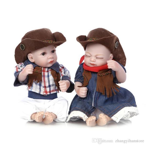 25cm Mini Full Body Silicone Reborn Baby Doll Toys Lifelike Handmade Newborn Boy Girl Dolls Bedtime Play House Bathe Shower Toy