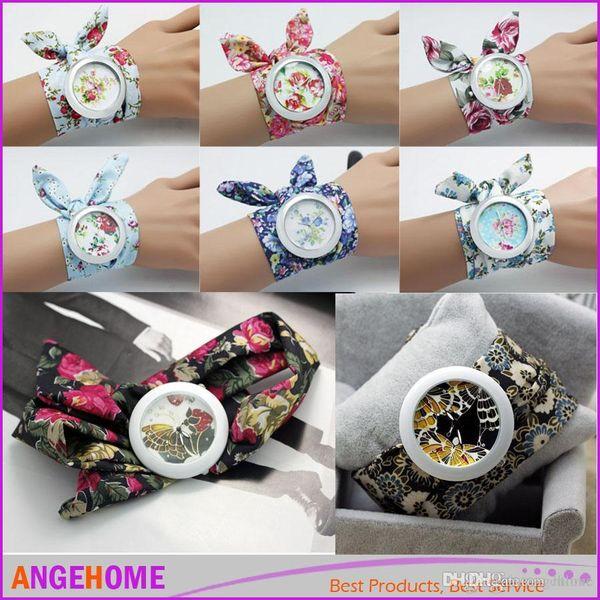 New design Geneva Ladies flower cloth wristwatch fashion women dress watch high quality fabric watch sweet girls Bracelet watch 14 Style