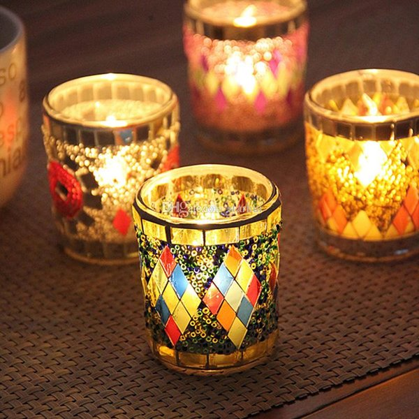 Small Glass Cup Candle Holders Mosaic Crack Candlestick Home Decor Dinner Wedding Party Gifts Bar Decoration No Candle Free DHL WX9-320