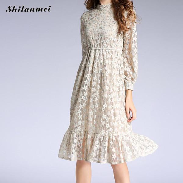 2019 Summer Dresses Hollow Out Women Long Sleeve Elastic Waist Floral Crochet Casual A Line Beige Lace Dress Femininas Vestidos From Keviny 4559
