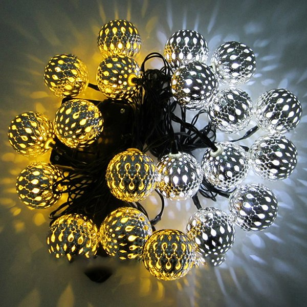 4.8m Outdoor Ball LED Strings 20 LEDs Christmas Holiday Party Wedding Decoration Warm White Solar Ball Fairy String LED Light