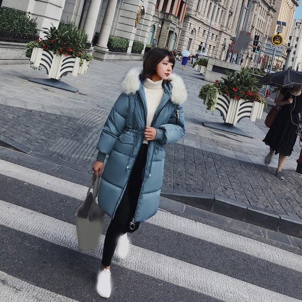 2018 Winter Women Long Parkas Coat Thick Big Fur Collar Warm Parka Outwear Ladies Slim Snow Wear Hooded Parkas