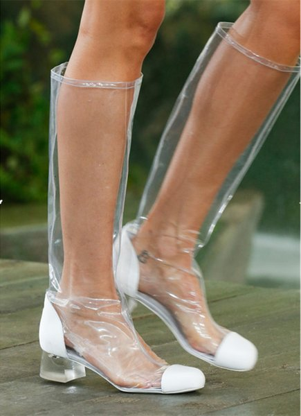 Women Clear PVC Thigh High Boots Sexy Transparent Fashion Street Style Boots T-stage Knee High and Mid-Calf Boots Woman Big Size 34-44