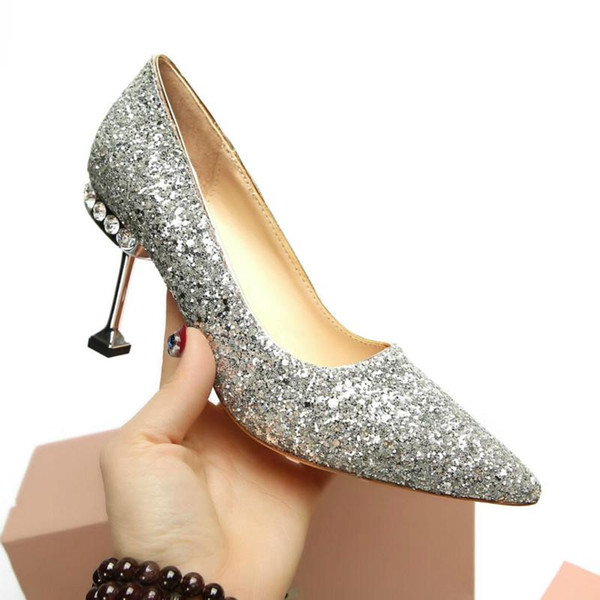 Women 's high-heeled shoes European station new paint shoes in sheep 's heel height 8.5cm factory outlet