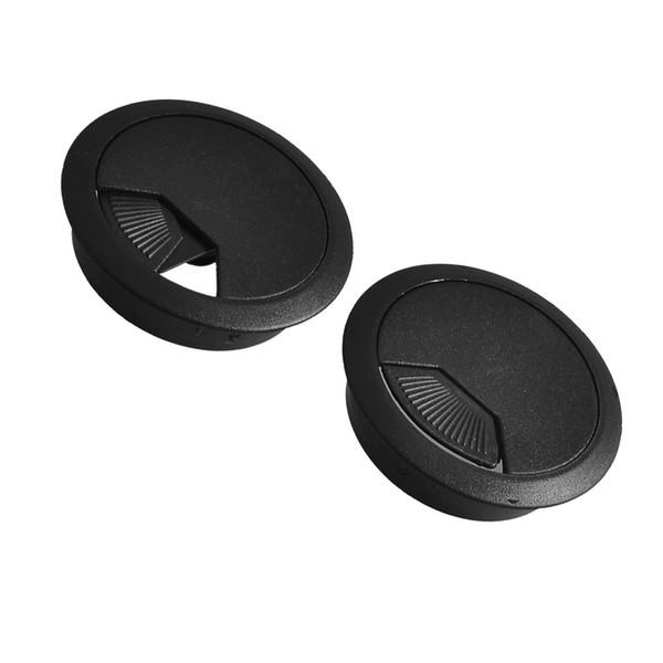 SZS Hot 2 Pcs 53mm Diameter Desk Wire Cord Cable Grommets Hole Cover Black