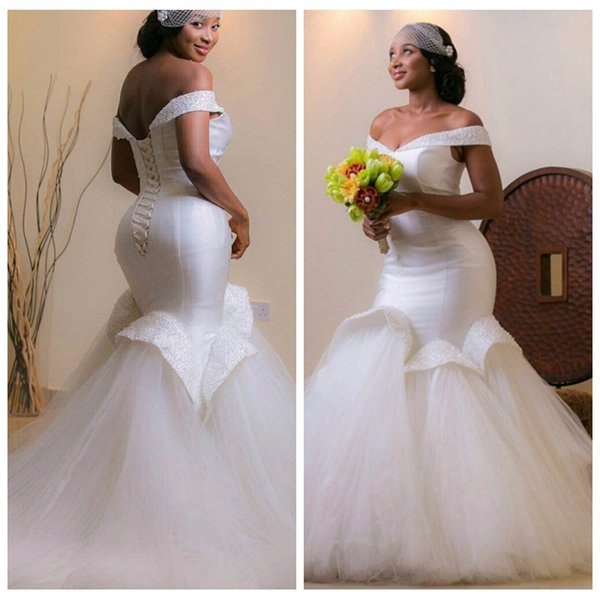 2019 New African Fashion Shining Mermaid Wedding Dresses Custom-made White/Ivory Delicate Beaded Tulle Bridal Gowns