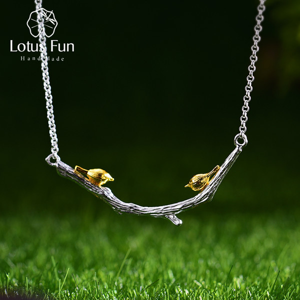 Lotus Fun Real 925 Sterling Silver Natural Original Handmade Fine Jewelry Bird on Branch Necklace for Women Bijoux S18101105
