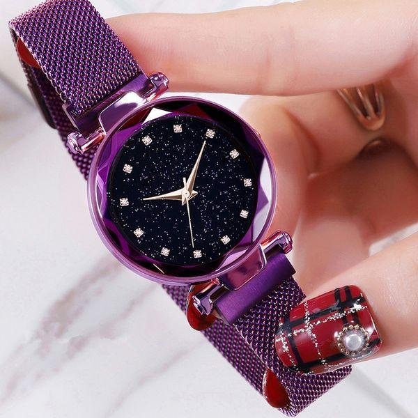 Lujo Starry Sky Mujeres Relojes Famosa Marca Pulsera Diamante Cuarzo Reloj de Señoras Reloj de pulsera Femenino Ultra Delgado Magnético