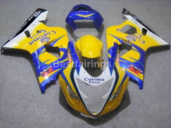 Freier Verkleidungssatz für SUZUKI GSXR600 GSXR750 2004 2005 blau weiß gelb GSXR 600 750 K4 K5 Verkleidungen OO89