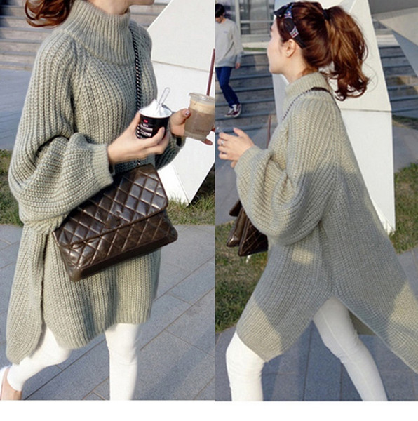 Women's Warm Loose Above Knee Polyester Plain Knitted Lantern sleeve Sweater Dresses