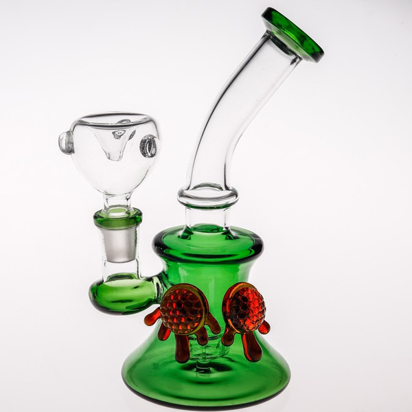 17cm Green Mini Glass Bong Joint 14.4 mm Double Caramel Turtles Inline Birdcage Percolator Glass Pipes Dab Rigs Recycler Glass Water Pipes