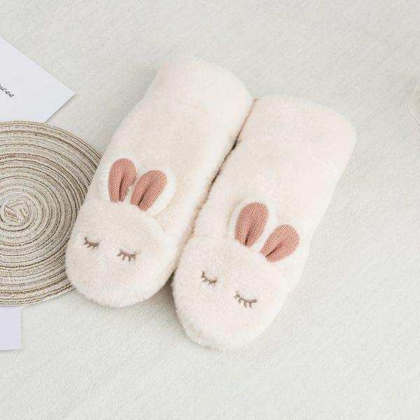 Winter Girl Warm Gloves New Women Knitted Hanging Neck Mittens Cute Rabbit Pattern Rope Glove Plus Velvet Students Mitten