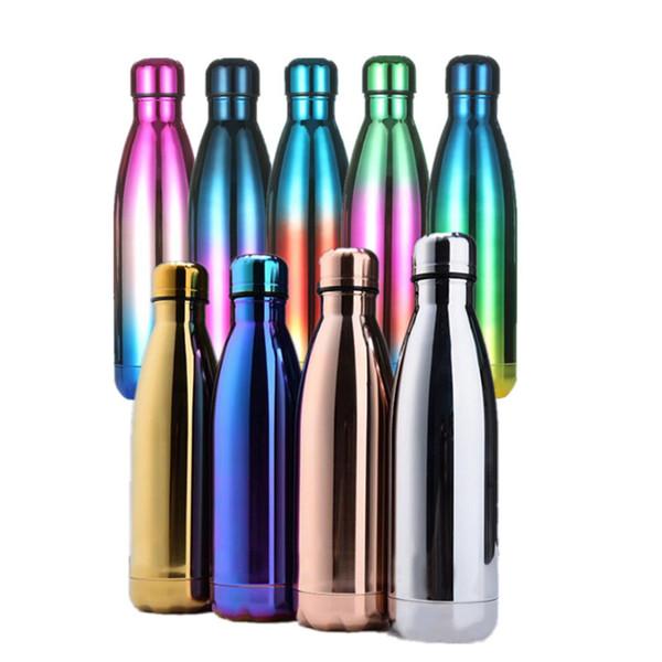 Recubrimiento Vaso de acero inoxidable Cola coque Bolos En forma de botellas de agua Aislamiento al vacío Gradiente botella de agua deporte Viajes Copas creativas