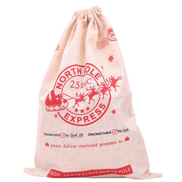Christmas Candy Bag Santa Claus Drawstring Sack Rustic Vintage Stockings High Quality Xmas Gift Bag Christmas Decorations Festive Supplies