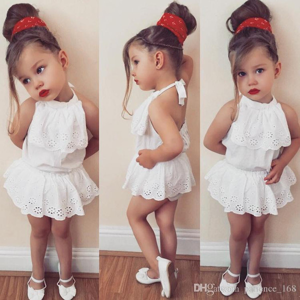 2018 INS summer new style hot selling Baby girl kids 2 Pieces Set cotton Sling halter tops + shorts kids clothing sets free shipping