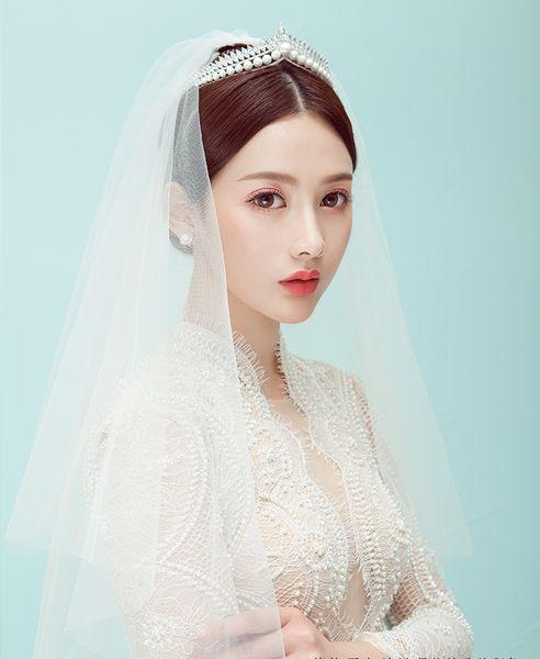 Hot Fashion Stunning Twinkling Full Crystal Pearl Wedding Bridal Flower Girl Tiara High Quality Free Shipping 2018